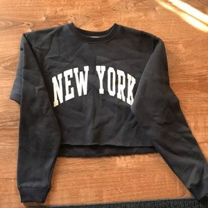 Navy blue New York sweater crop top